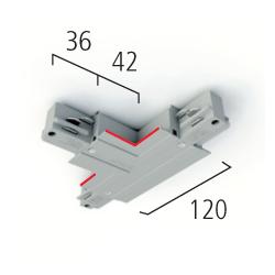 Eutrac T-Verbinder 3-Phasen Einbau, Erdung rechts und innen