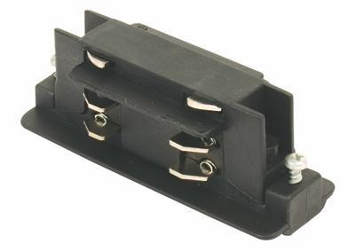3-phasen elektrischer Längsverbinder, schwarz, rund/quadratisch, 230V